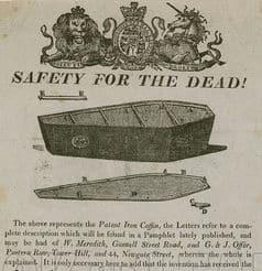 Safety coffin advertisement
