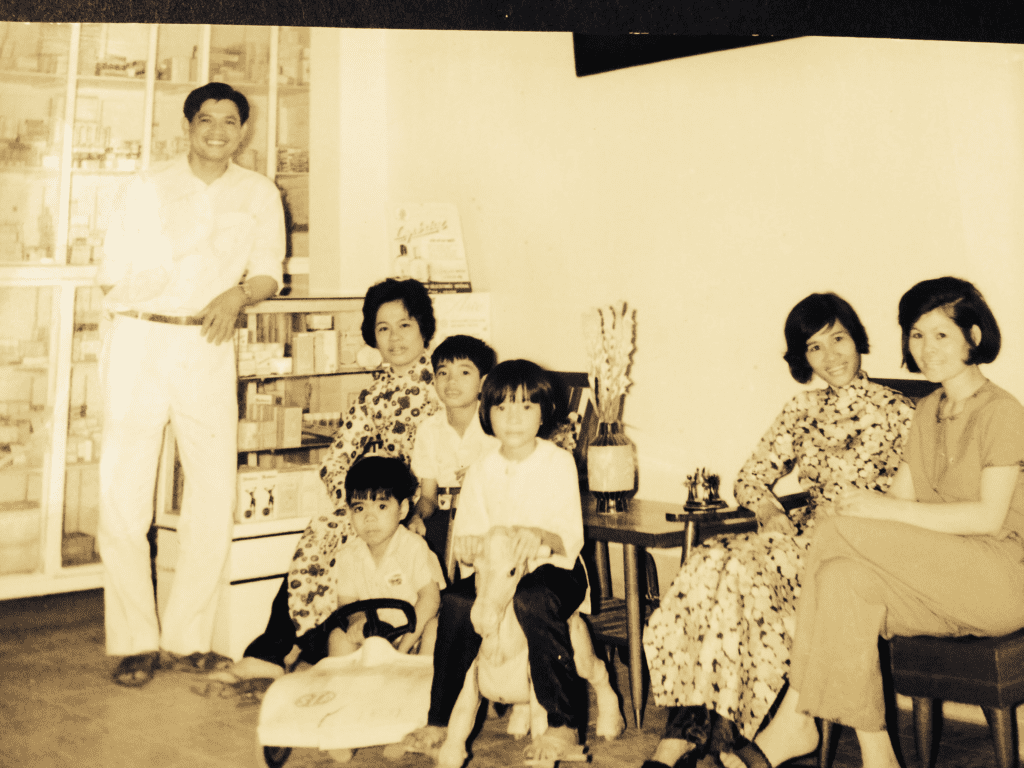 Nguyen Dinh Nhac and three of his sisters, my mother on the far right, Nguyen Thi Huong Buu