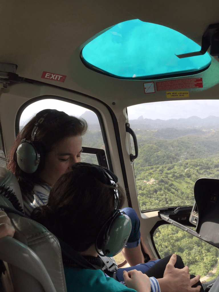 St. Lucia Helicopter transfer from airport to Castries in the north, about $150 per person.