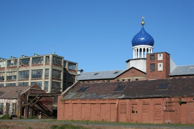 Colt Armory, rebuilt in 1864 after a fire on the 260 acre site in Hartford along the Connecticut River