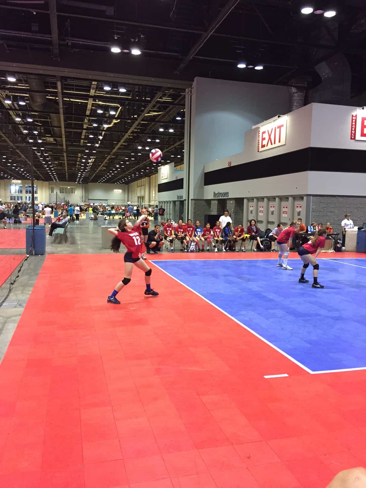 My daughter serving on the club's 12 national team